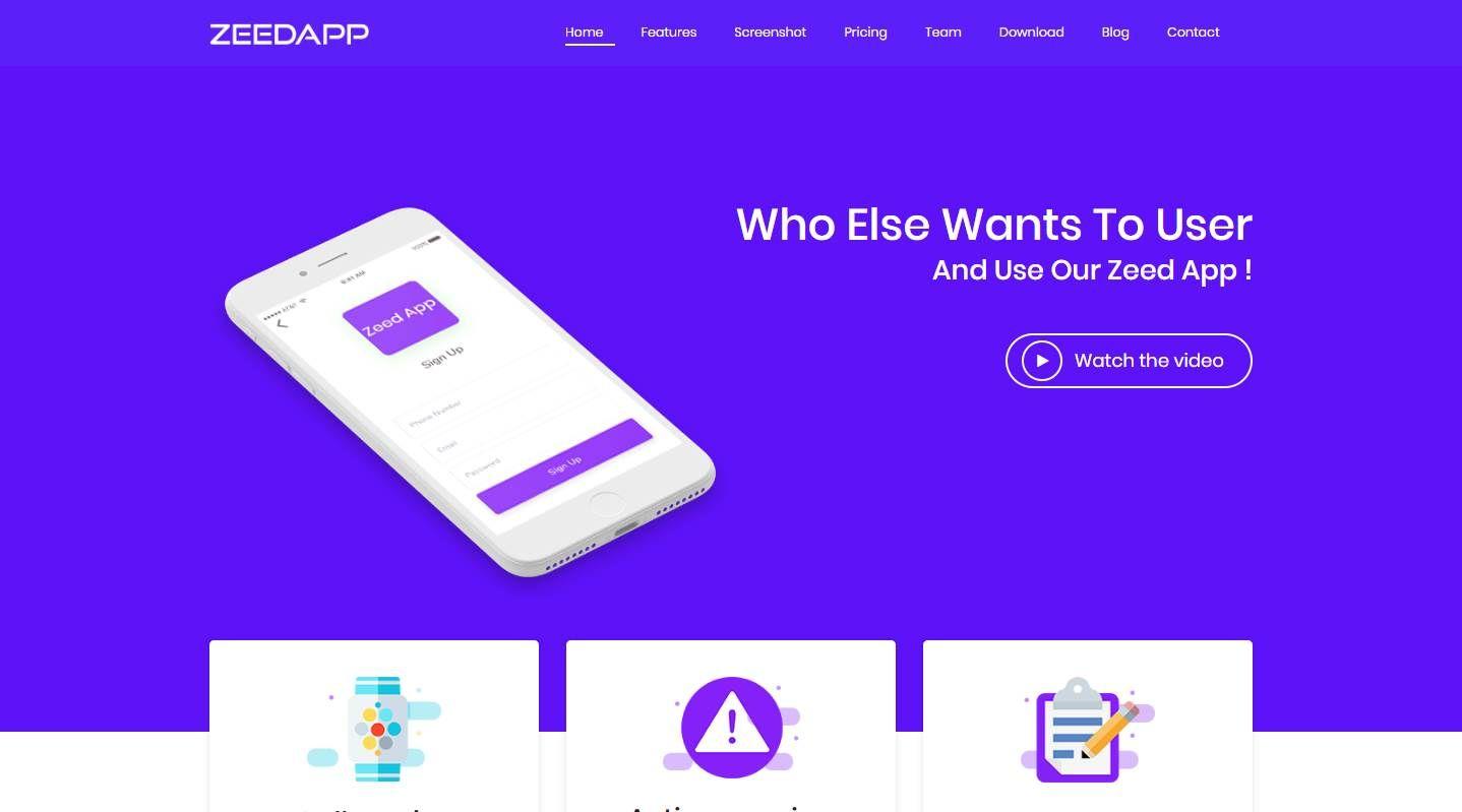 Free App Website zeedapp: a free app and application website template   best