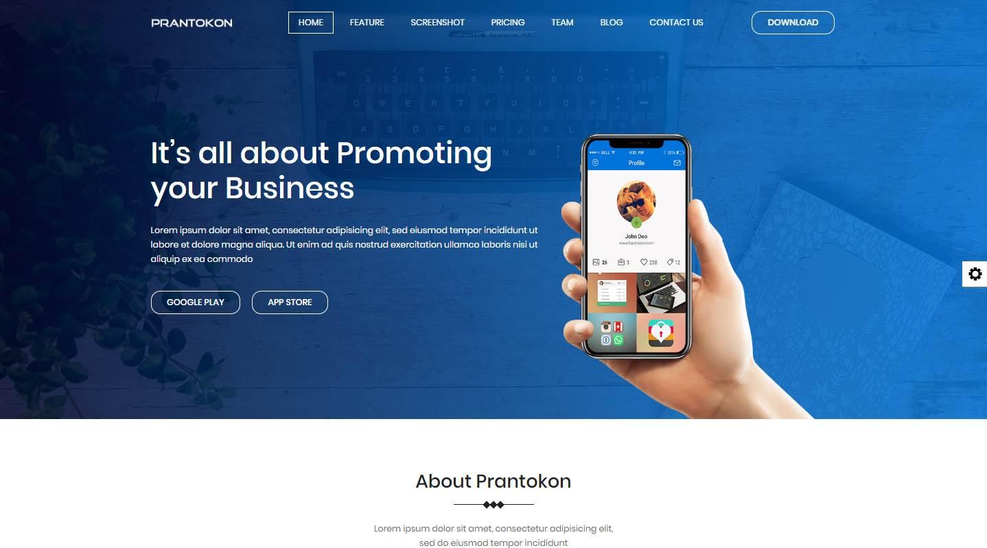 Prantokon: A Free Mobile App Landing Page Template