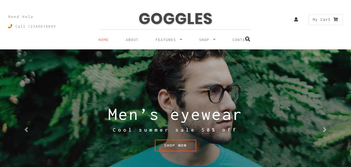 Goggles: An Ecommerce Bootstrap Responsive Web Template