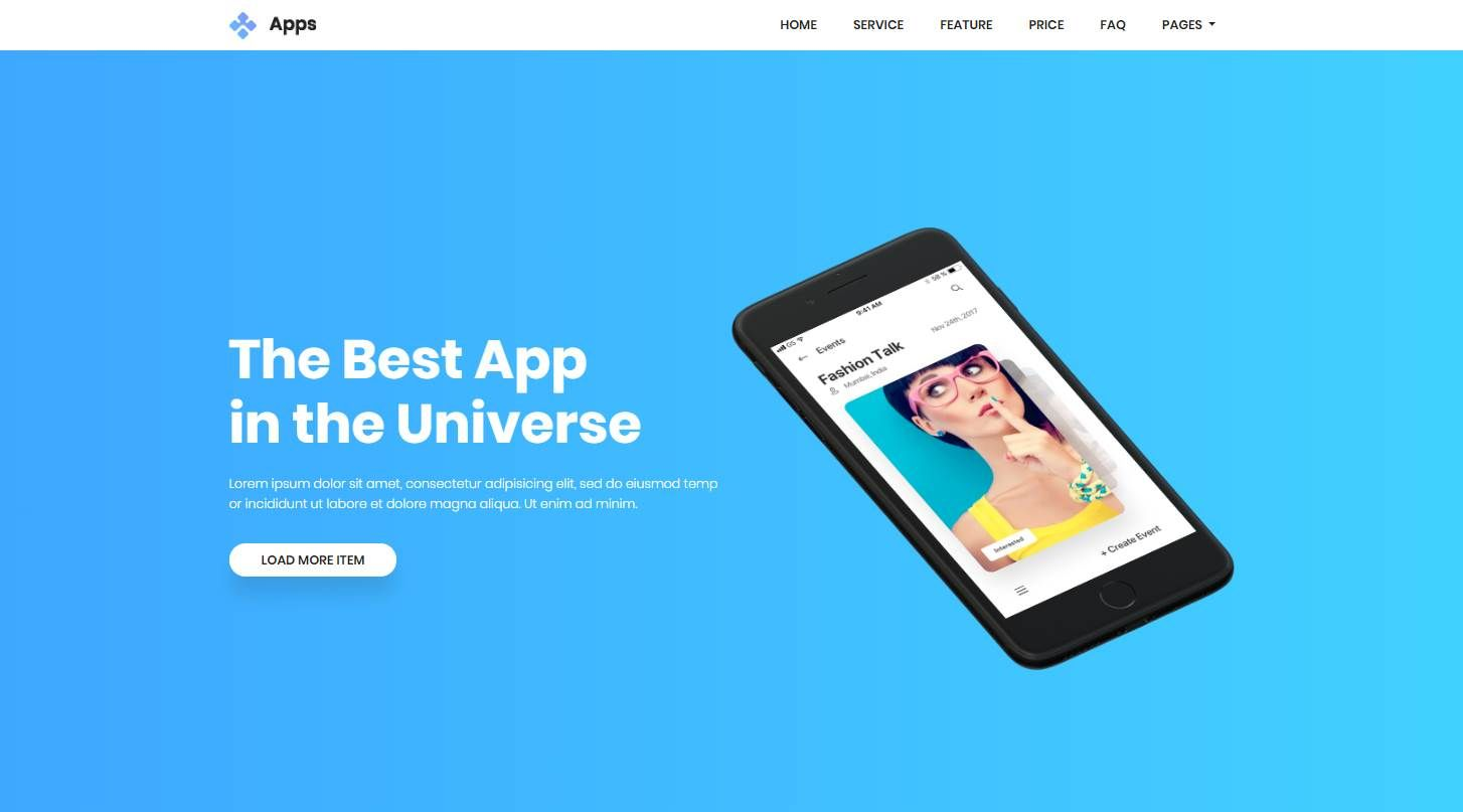 Apps: a Stunning Free App Landing Page Website Template