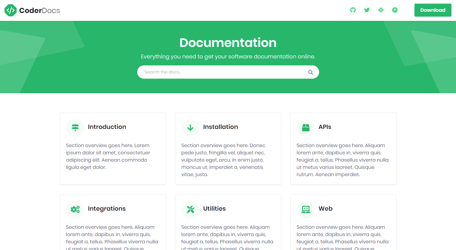 CoderDocs: A Free Bootstrap 4 Documentation Template For Software Projects