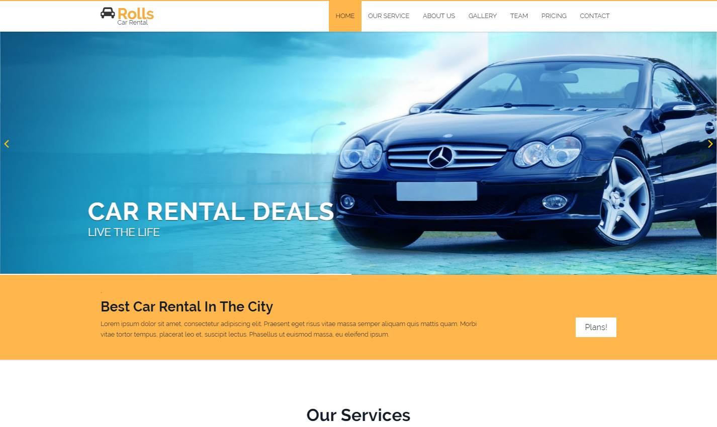 Rolls Car: A Car Rental Bootstrap Template