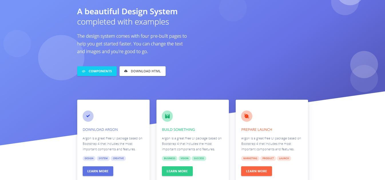 Argon: Open Source Bootstrap 4 based Design System Admin Templates