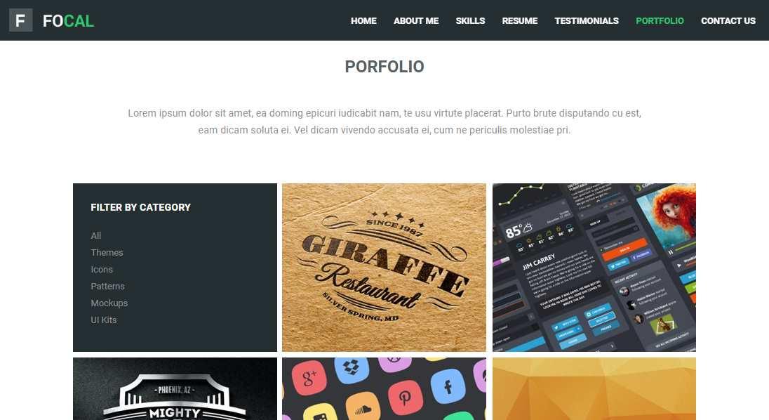 Focal: An HTML 5 Resume Portfolio