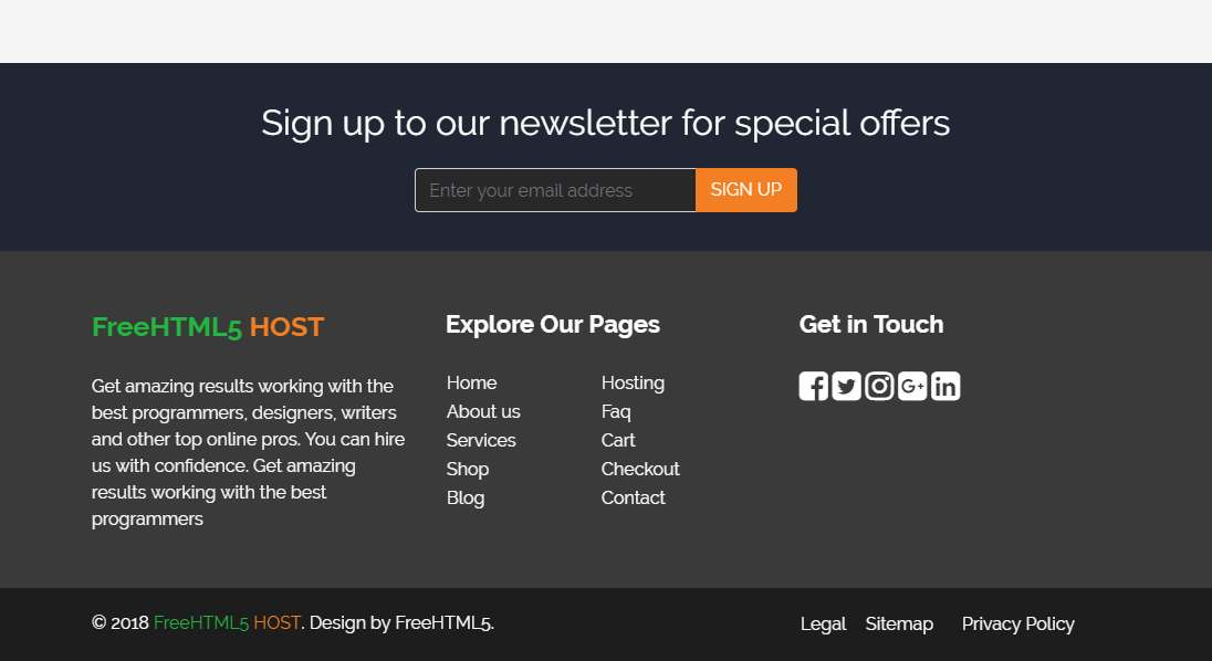 Host: A Free HTML5 Bootstrap Based Template for Web Hosting