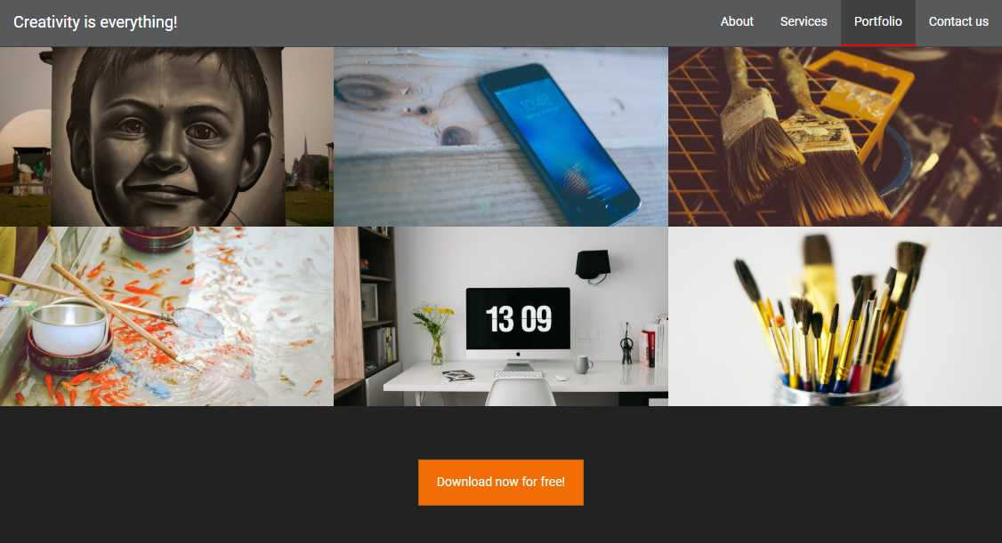 Creativity: a responsive multi-page template for photographers