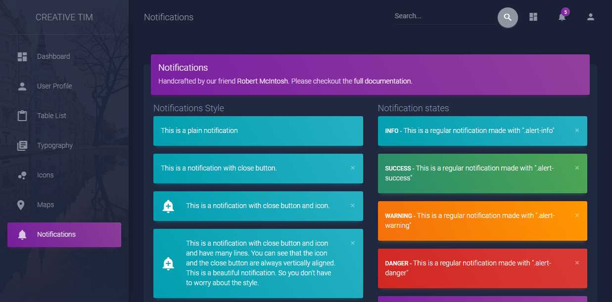 Material Dashboard: Free Bootstrap 4 Dark Material Admin