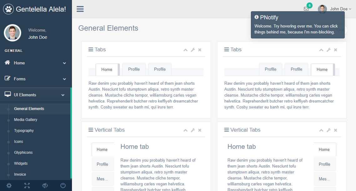 Gentelella: A Free Bootstrap 3 Admin Template