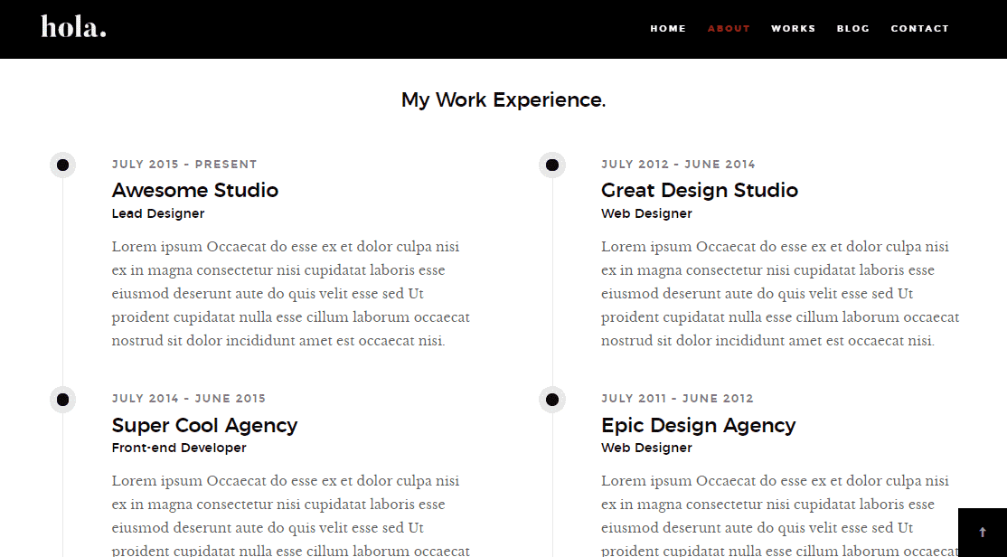 Hola: A Stylish CV/Portfolio Template
