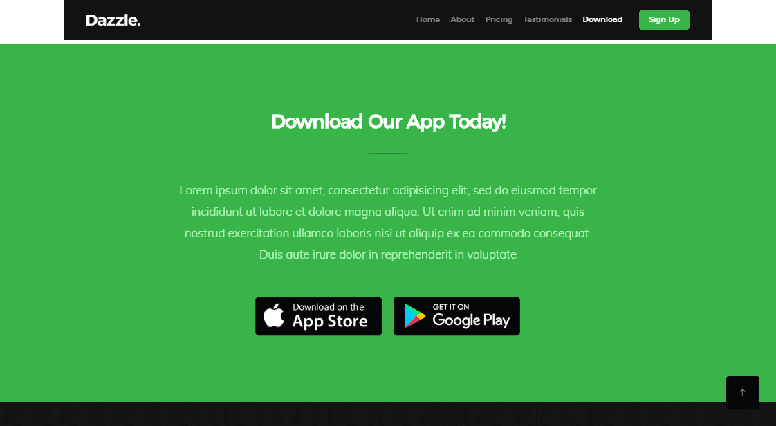 Dazzle: A High Quality App Landing Page