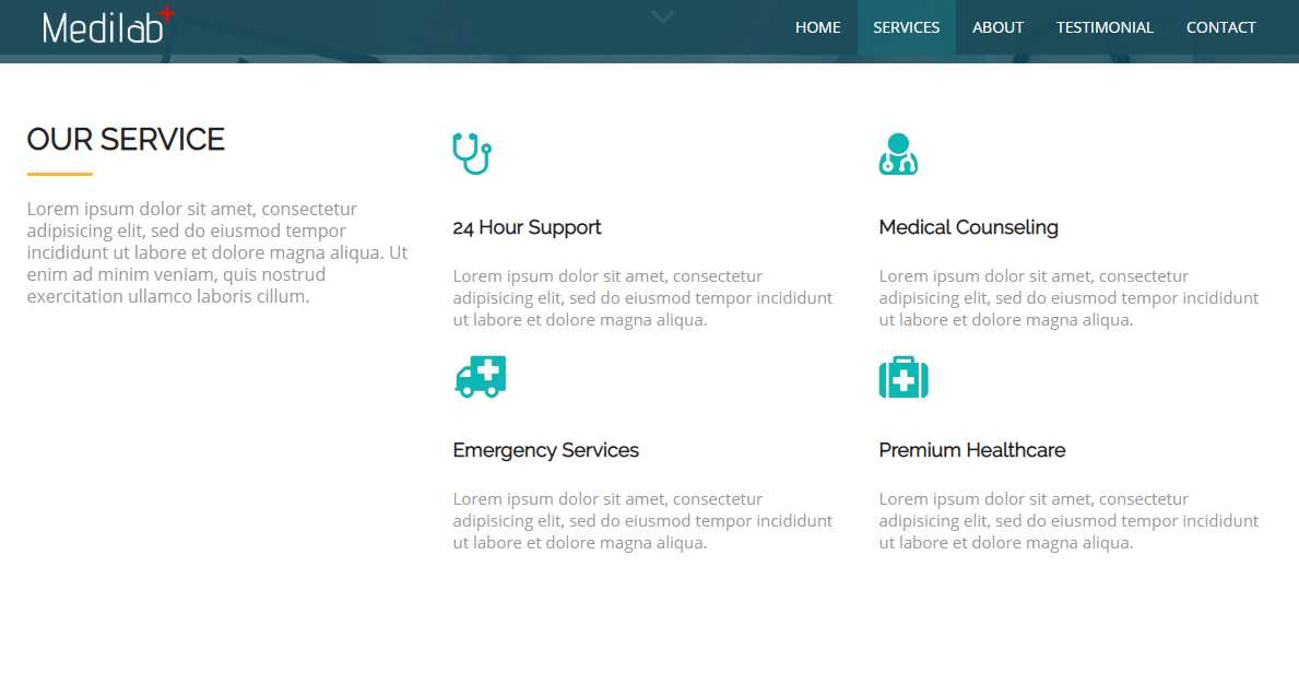 Medilab: A Free Medical Bootstrap Theme