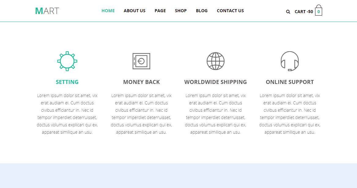 Mart: A Onepage E-Commerce HTML Responsive Template