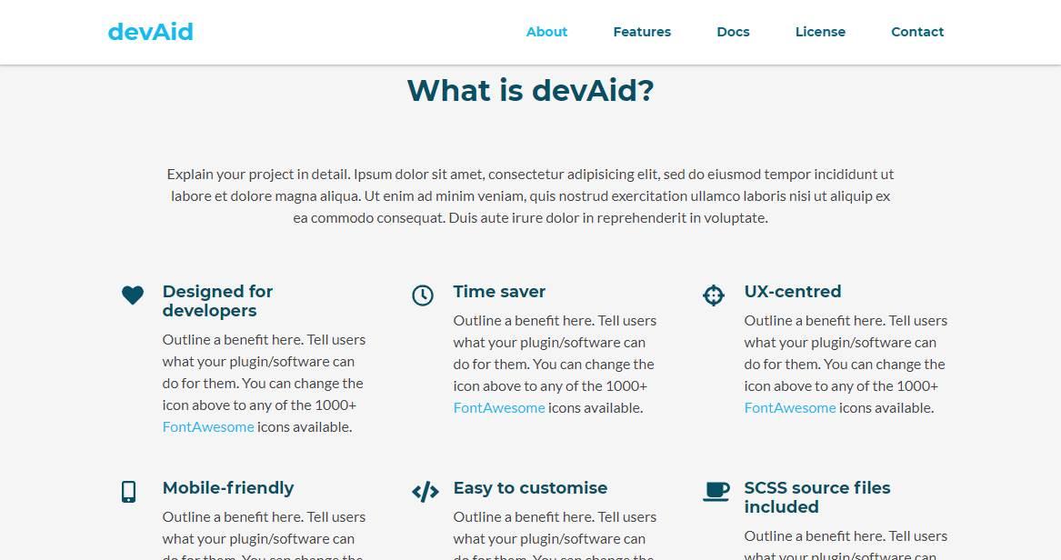 DEVAID: A Developer Bootstrap Theme