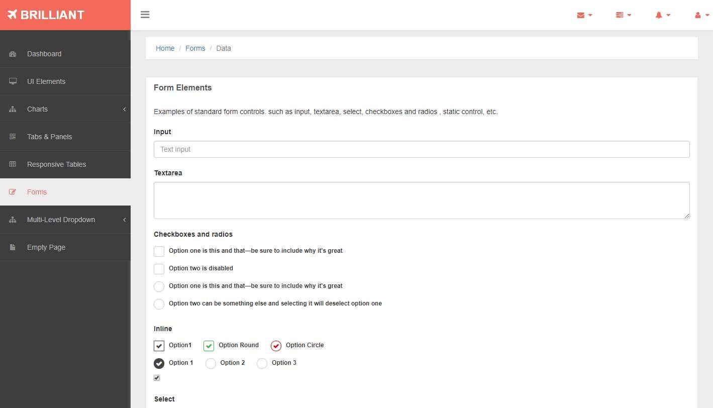 Brilliant: A Free Bootstrap Admin Template