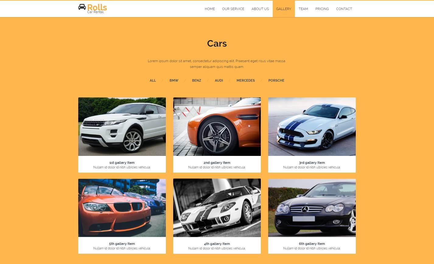 Rolls Car: A Car Rental Bootstrap Template