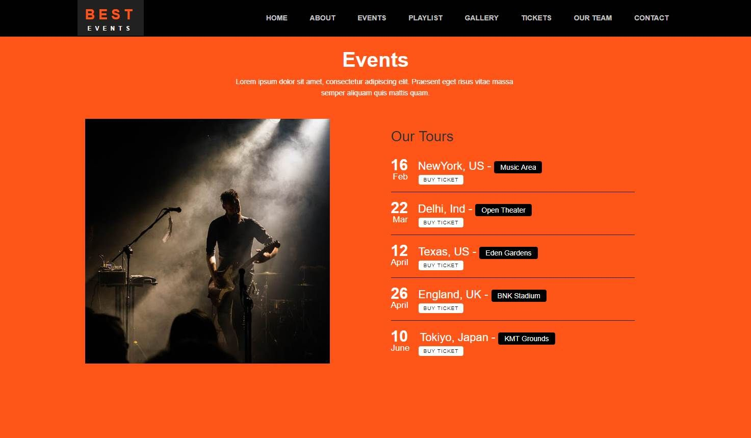 Best Event: An HTML5 Event Management Website Template