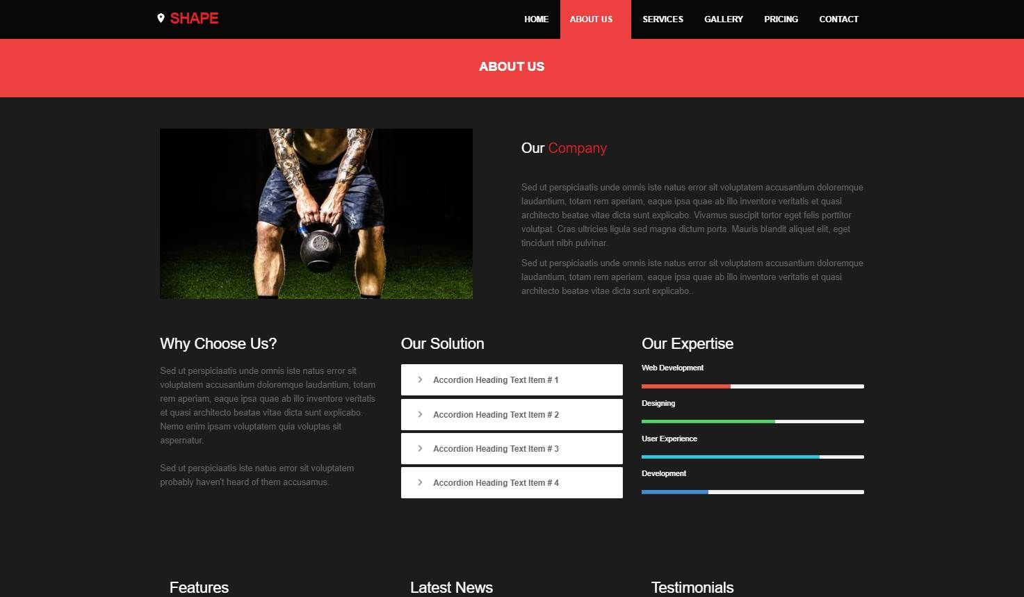 Shape: A Free Fitness Website Template