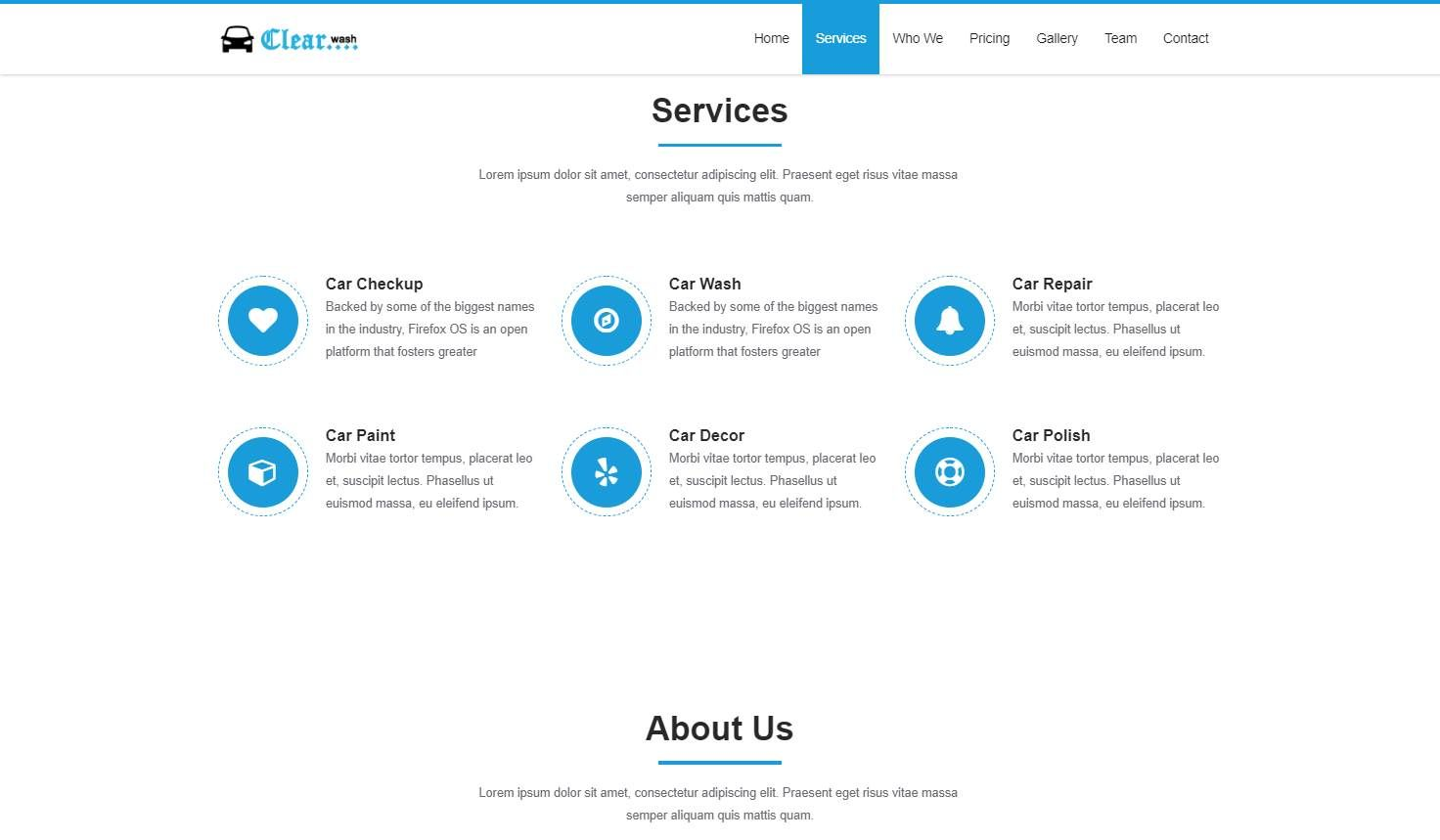 Clear Car: A Car Wash Responsive Website Template