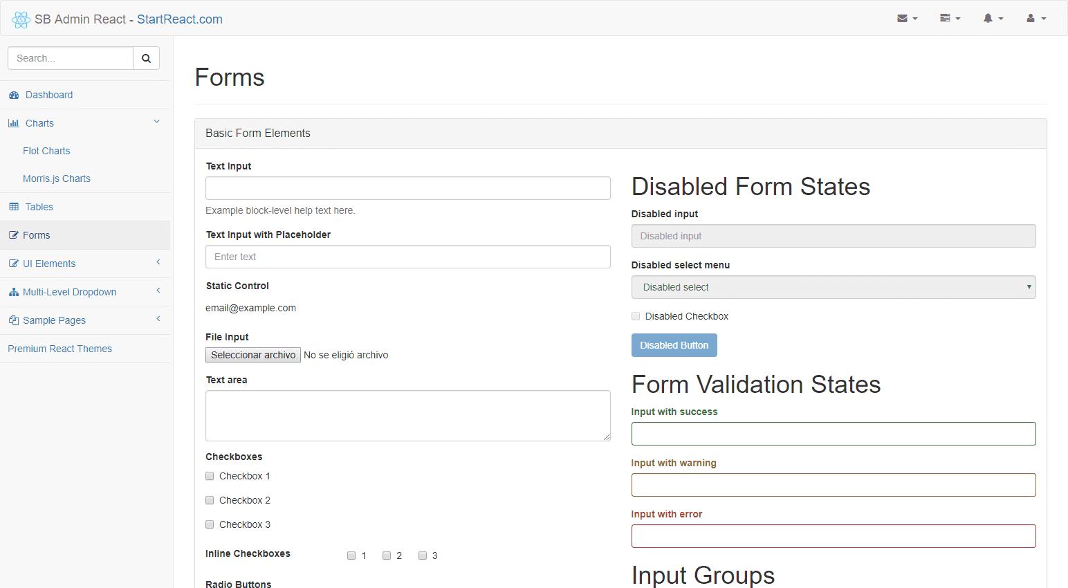 SB Admin React: An Admin Bootstrap React Theme
