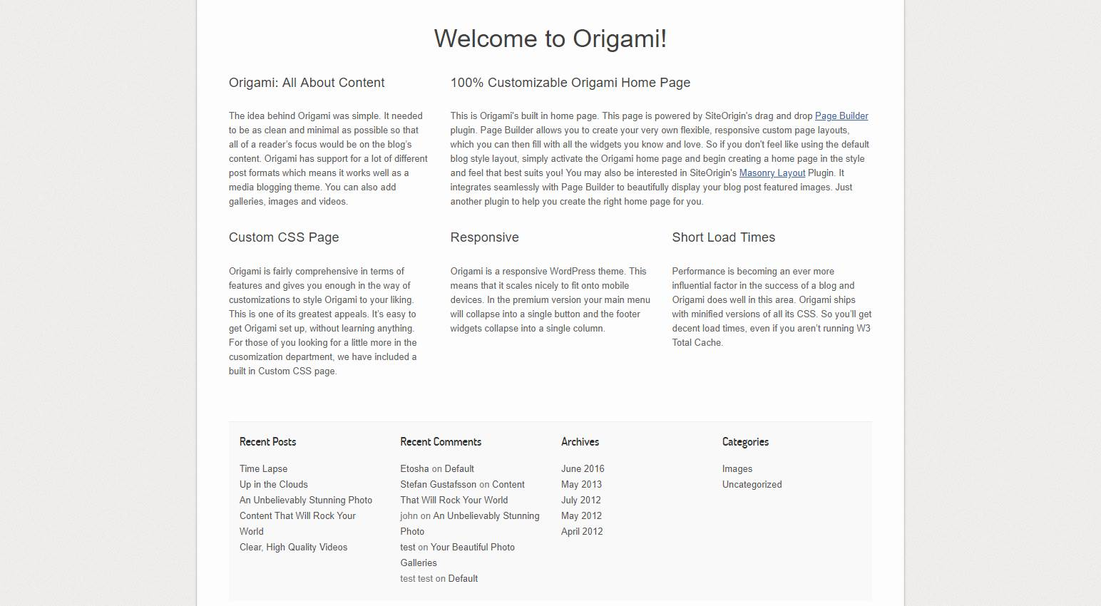 Origami: A Content Focused Wordpress Theme