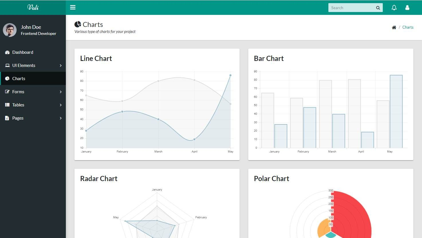 Vali: A Free Bootstrap 4 admin/dashboard template