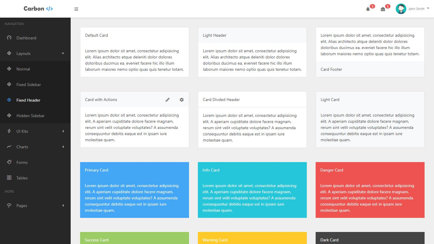 Carbon: An Elegant Bootstrap 4 Admin Template