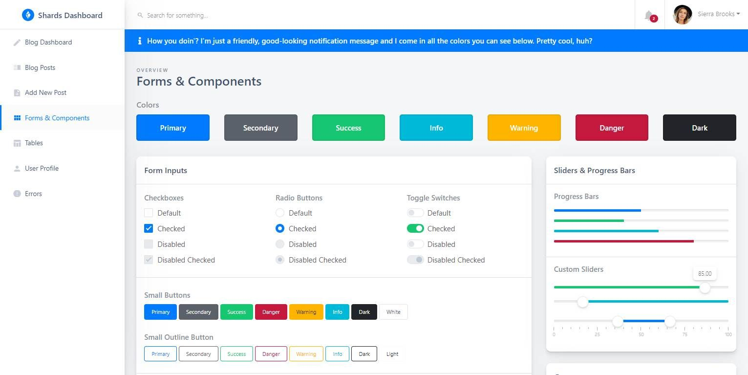 shards lite react  a free react admin dashboard template