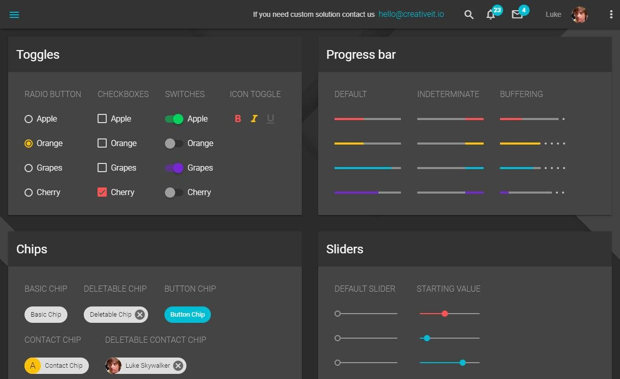 Material Dashboard Lite: A free dashboard template with material design lite