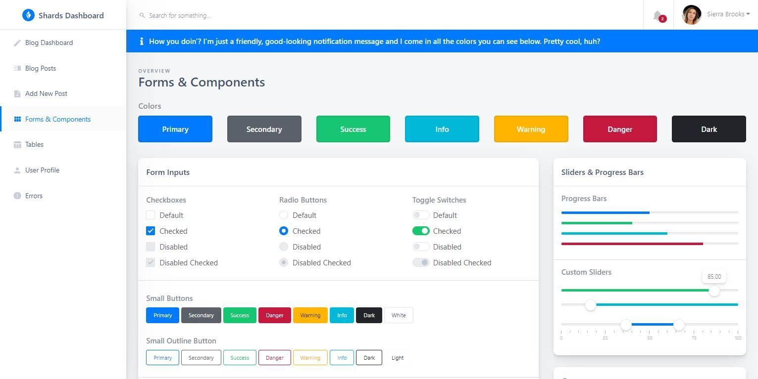 Shards Dashboard Lite Vue: A free Vue admin dashboard template