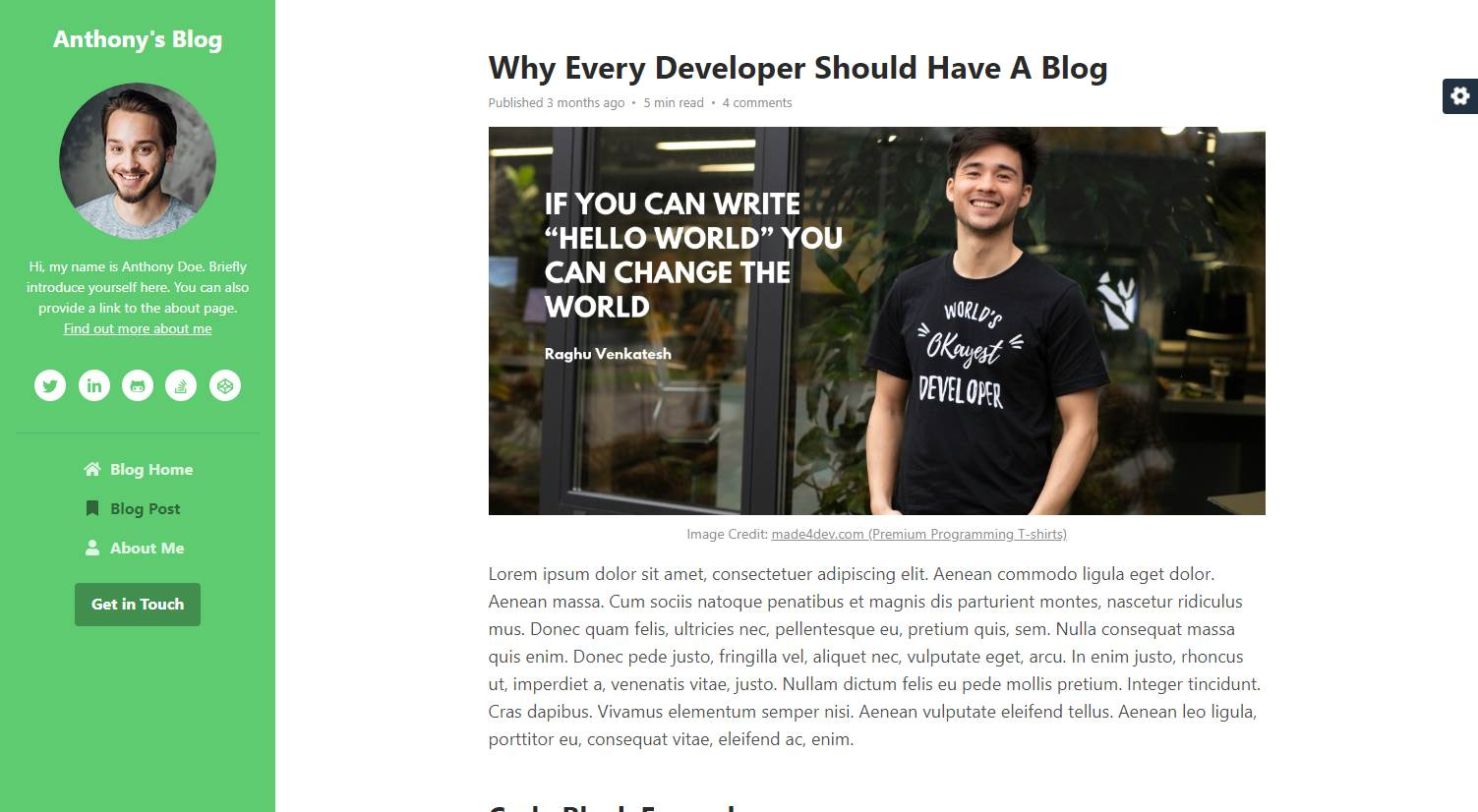 DevBlog: A Free Bootstrap 4 Blog Template for Developers