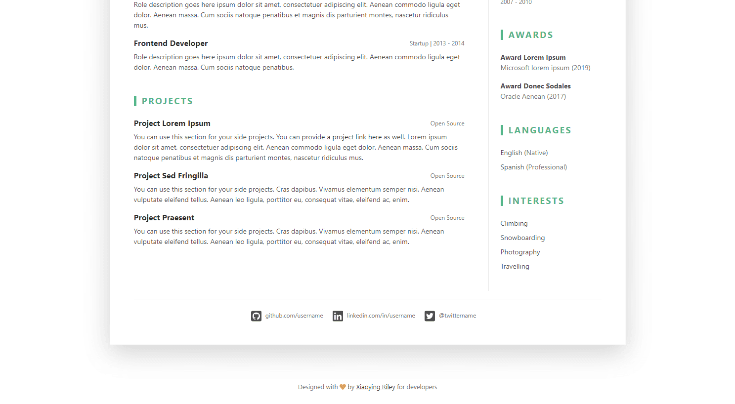 DevResume: A Free Bootstrap 4 Resume/CV Template for Developers