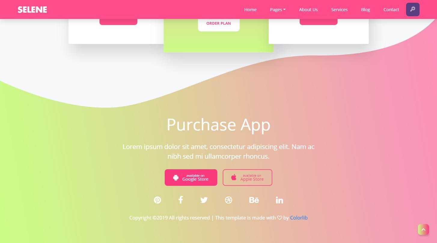 Selene: A Vibrant Free Mobile App Landing Page