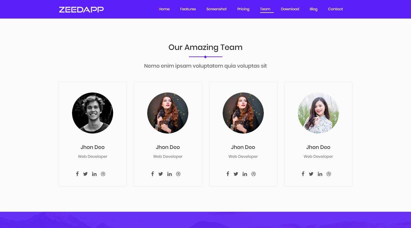 Zeedapp: A Free App and Application Website Template