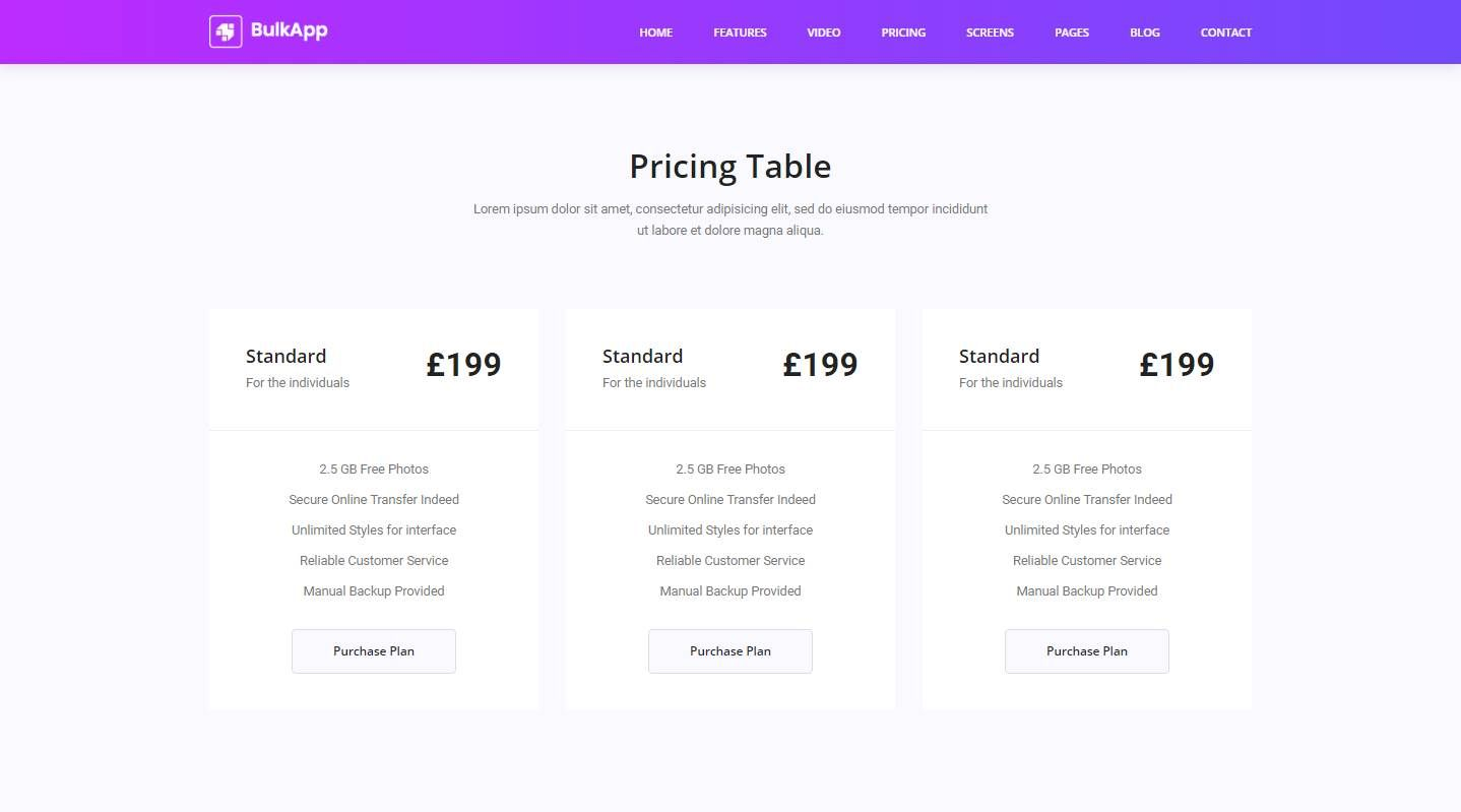 Bulkapp: A Free Mobile App Website Template