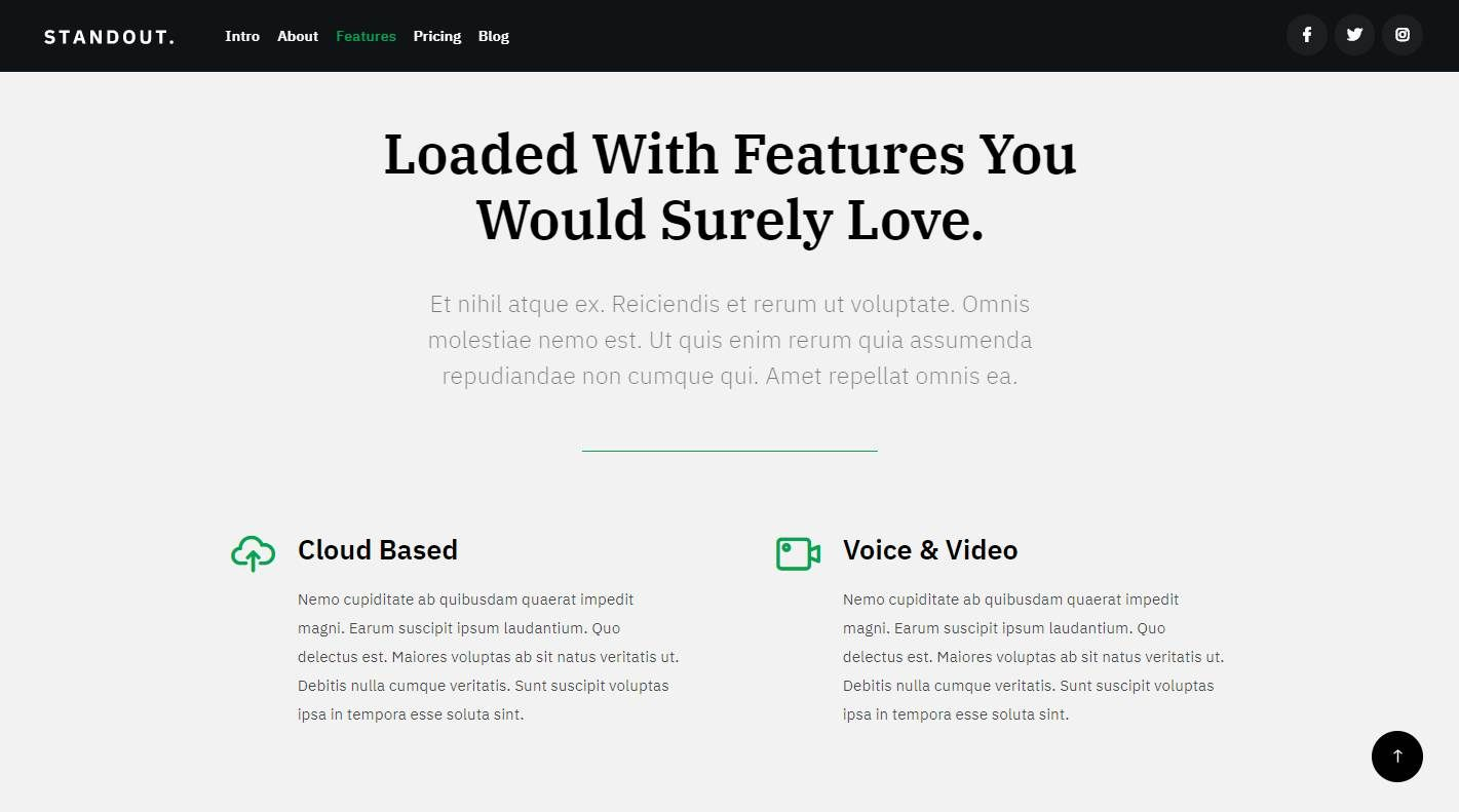 Standout: a Free Email App Website Template