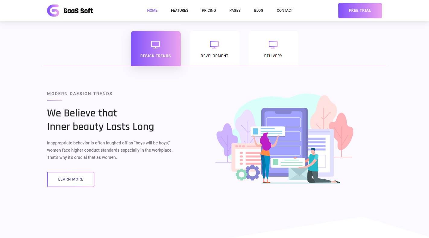 Gaas: a Free Software Landing Page Website Template