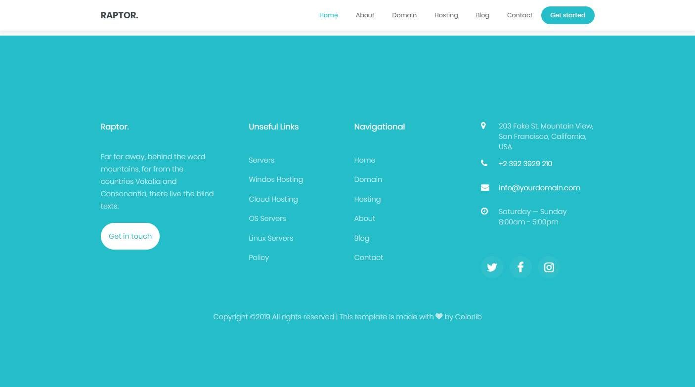 Raptor: a Web Hosting Website Template