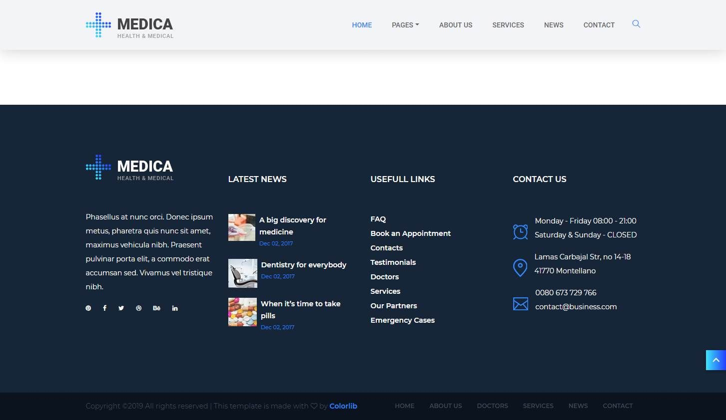 medica  a free health and medical website template