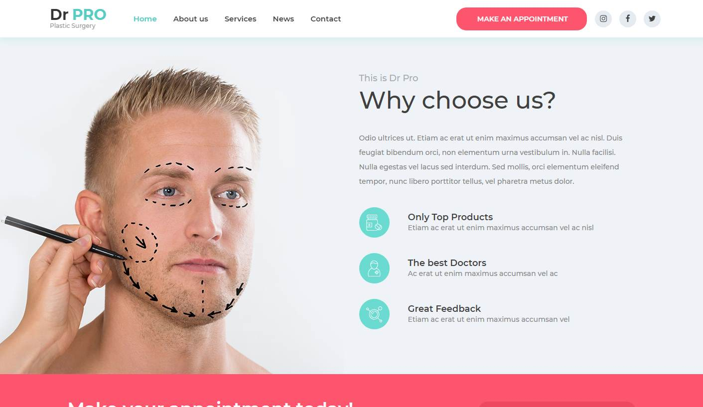 DrPro: a Striking Free Plastic Surgery Website template for Surgeons