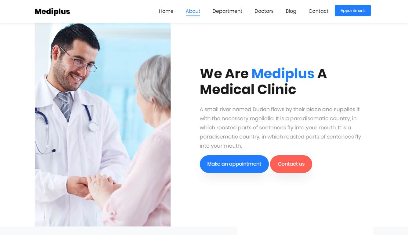 Mediplus: a Free One Page Medical Website Template