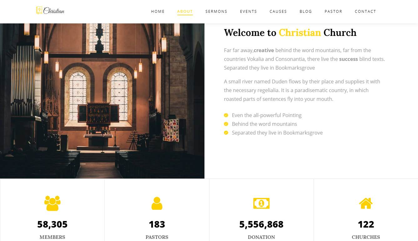Christian: a Free one-page Church Website Template