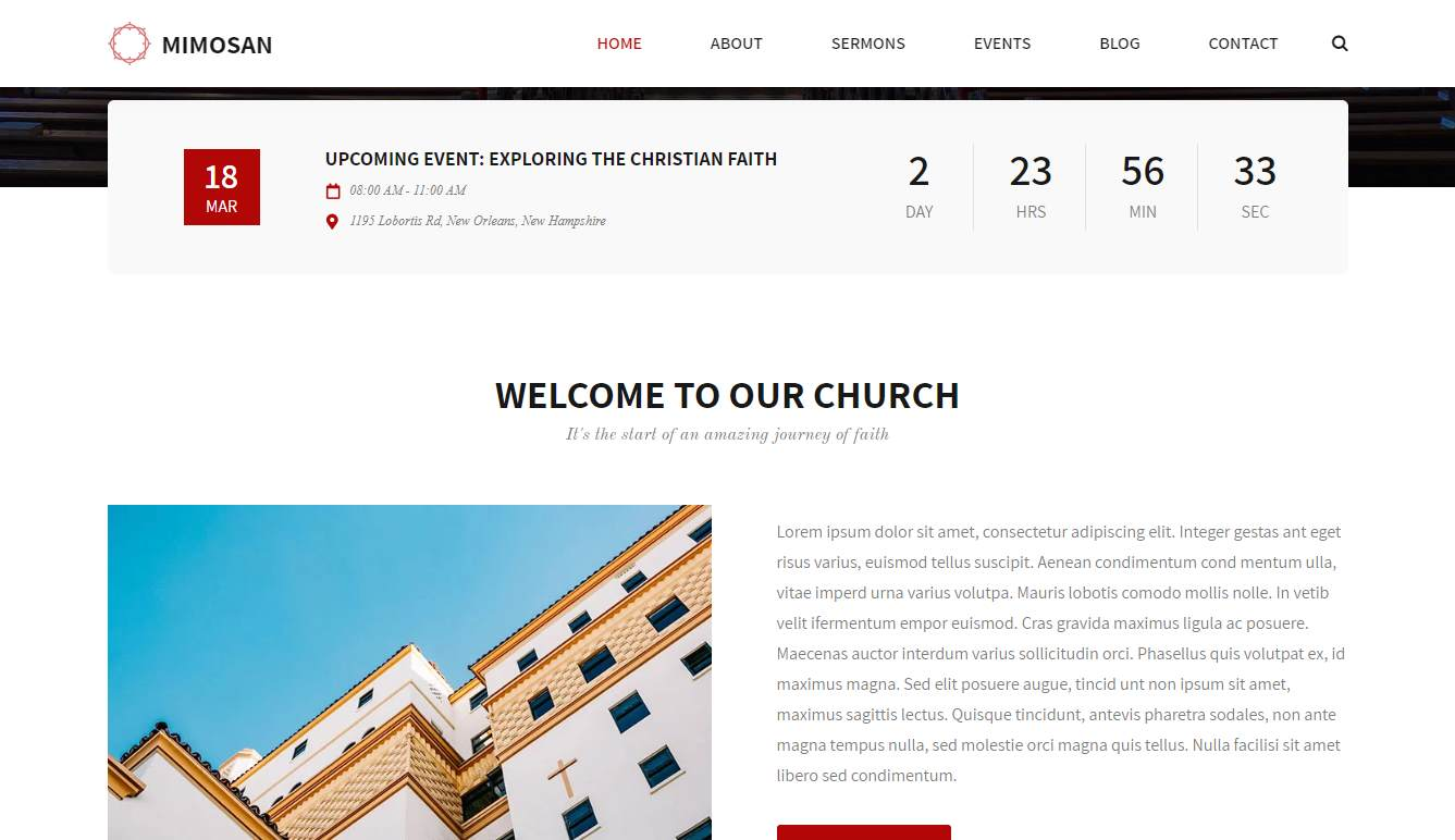Mimosan: a Neat and Heavenly Free HTML Church Website Template