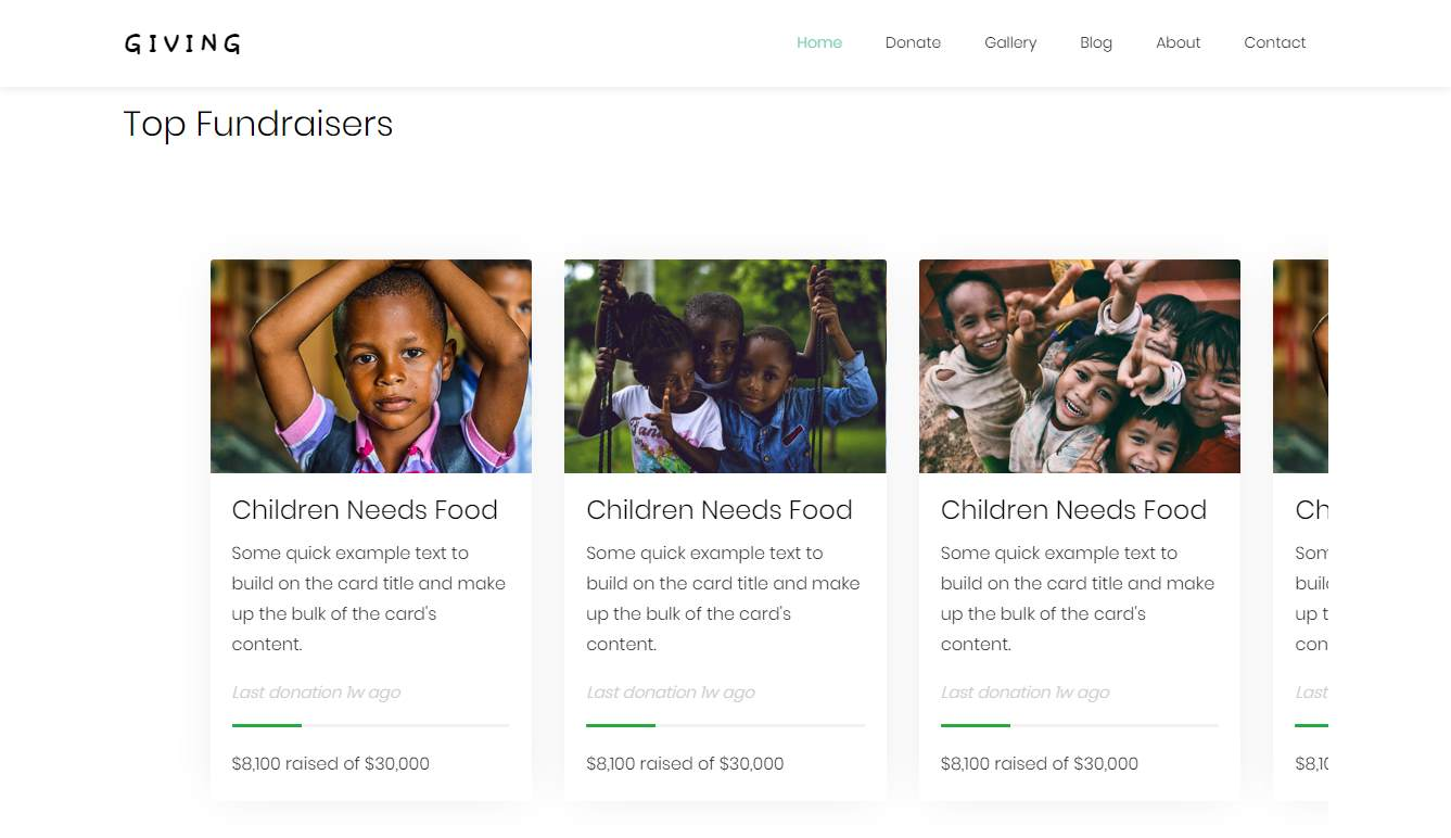 Giving: a Free Non-profit Website Template