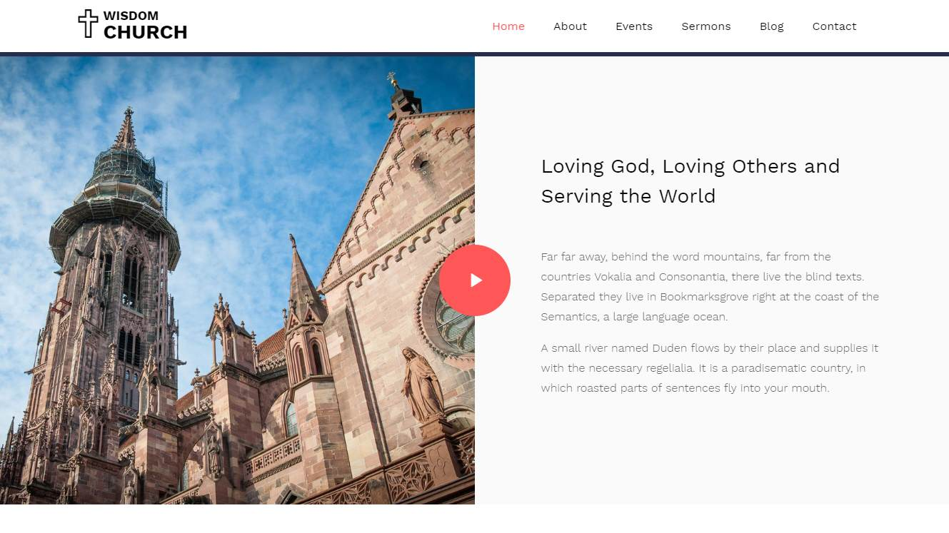 Wisdom: a Modern and Unique Free Church Website Template
