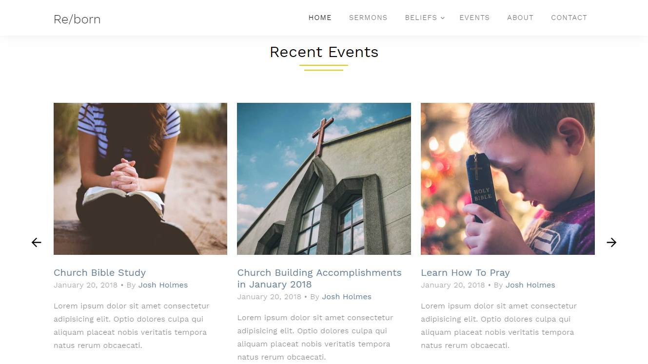 Reborn: a Stunning and Free Modern Church Website Template