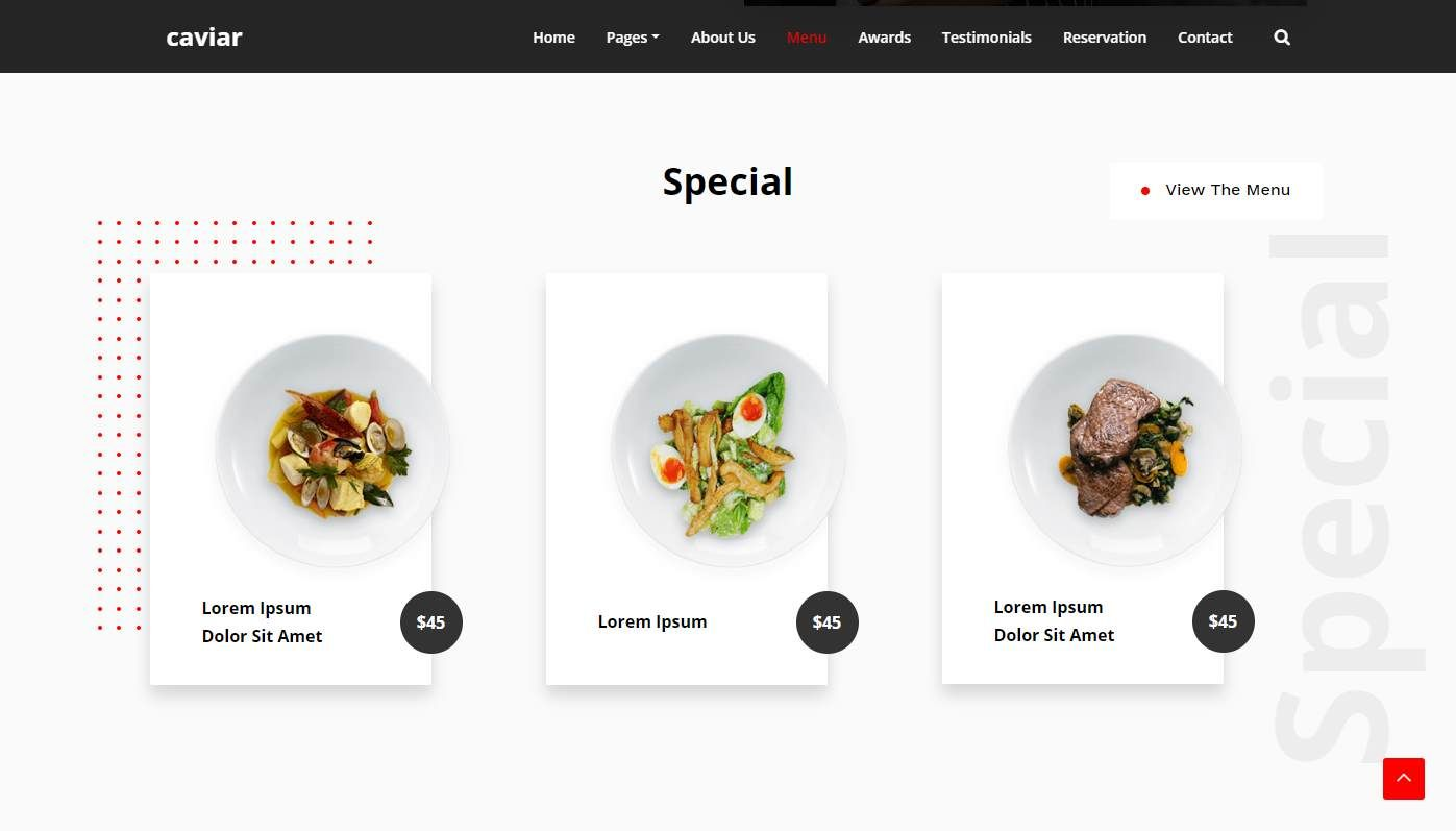 Caviar: a Very Appetizing Free Restaurant and Food Website Template