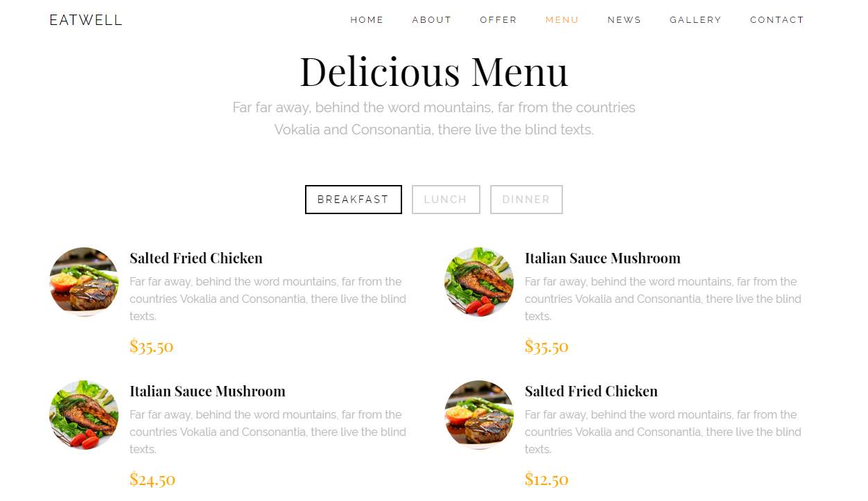 Eatwell: a Wondrous Free Mobile-Ready Restaurant Website Template