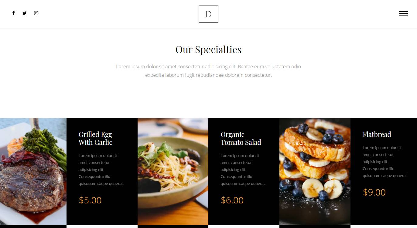 Diner: a Cool and Unique Free Restaurant and Cafe Website