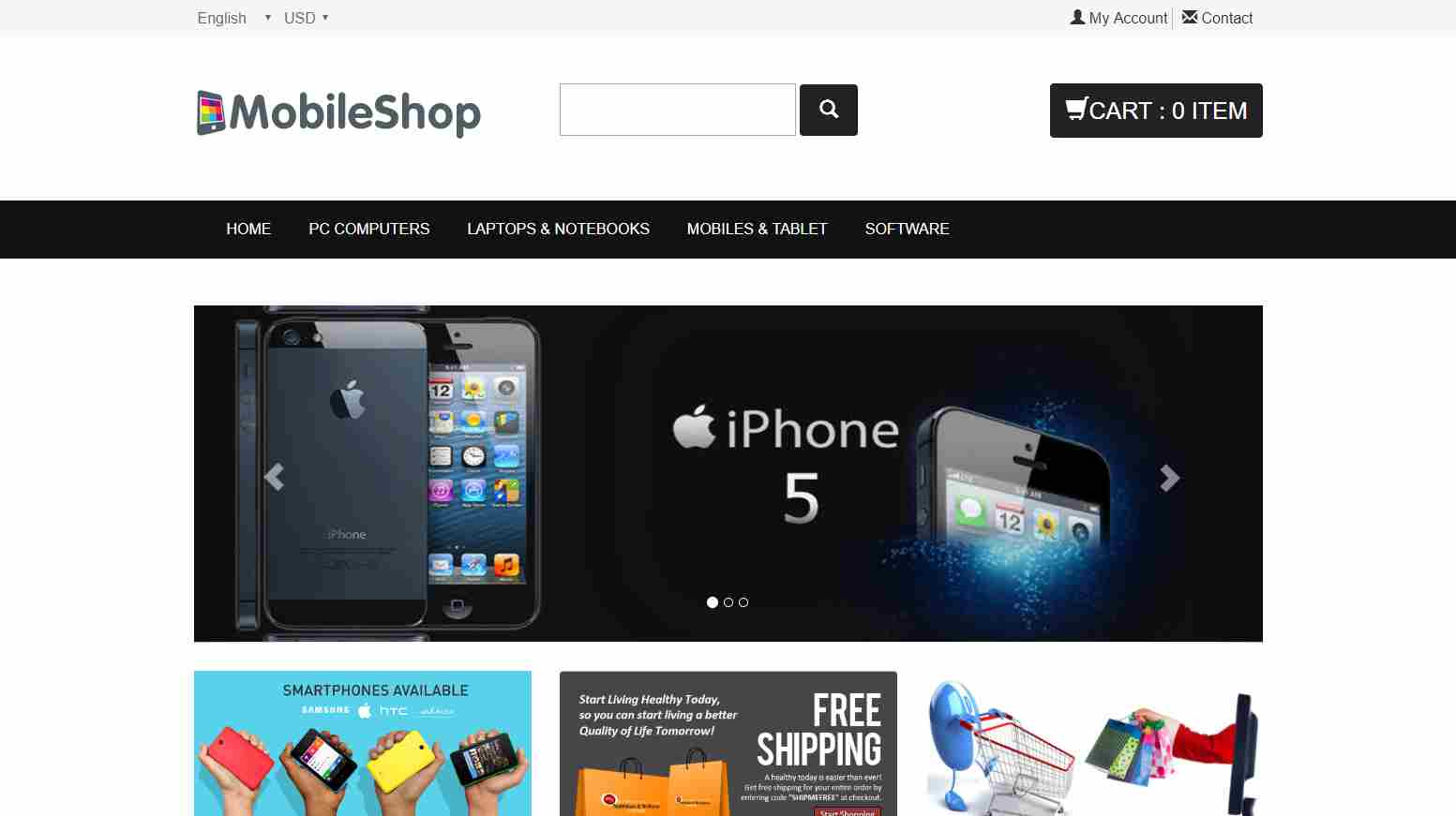 zMobileShop: A Free Bootstrap Theme