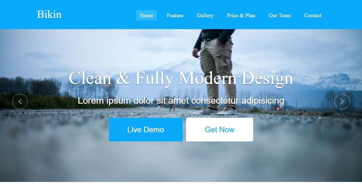 Bikin: A Free Simple Landing Page Template